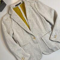 Zara Basic Light Heather Gray Jacket/Blazer Mustard Interior, pockets. Sz M