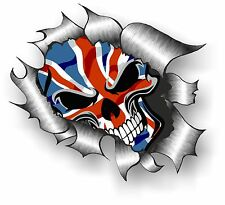 LARGE CLASSIC Ripped Torn Metal Gothic Skull Union Jack British Flag car sticker
