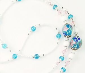 Handmade Beaded Lanyard~Turquoise Blue & Pink Flowers~Crystal~Badge ID Holder