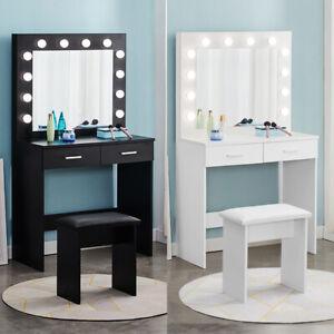 Modern LED Dressing Table Makeup Desk with Stool Mirror Bedroom Vanity Set New