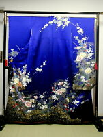 "Japanese kimono SILK""FURISODE"" long sleeves, Gold/Silver, Peony/Plants L63"".1396"