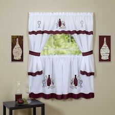 Cabernet Burgundy Complete Kitchen Curtain Set- WINDOW CURTAIN/ Wine Bottles