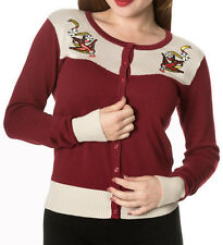 Banned Apparel Vintage Rockabilly Burgundy Swallows Cardigan Button Top PLUS
