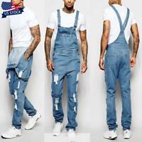 Mens Ripped Denim Jeans Overalls Dungarees Bib Pants Jumpsuits Trousers Pants US