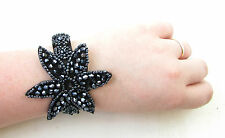 Navy Blue Black Bracelet Cuff 1920s Great Gatsby Flapper Accessory Vtg Bead 1049