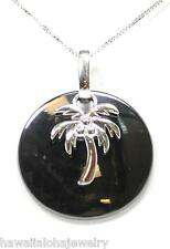 ROUND DISC BLACK CERAMIC RHODIUM OVER SOLID SILVER HAWAIIAN PALM TREE PENDANT
