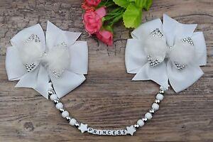 Personalised stunning pram charm in White girls boys rhinestone bling