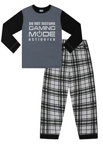 Gaming Mode Activated Long Woven Check Boys Pyjamas 7 to 16 Years  us