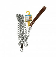 """72"""" Chrome Chain Dog Leash With Leather Handle Strong LG THICK HEAVY DUTY CHAIN"""
