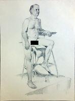 "Male Nude Man Figure Drawing Pencil 18""x24"" Original Signed Art"