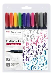 Tombow Fudenosuke 10 Brush Pens Various Colours Gift Set Journal Craft Pack