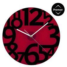 30,5 cm di diametro Orologio da Parete Grandi Numeri In Nero decorazione moderna in vetro rosso design