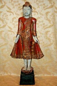 "Antique VERY RARE Thai Style Wooden Buddha w/ Red Robe 46"" Tall Pedestal Base"