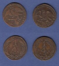 n°82) Monnaie ancienne)) Mexique MEXICANA 1/4 Real 1836 (x2)