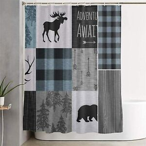 Blue Gray Black Rustic Moose Tree Patchwork Fabric Shower Curtain