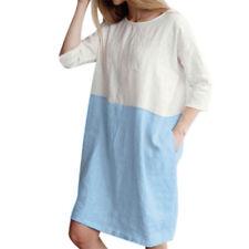 Womens Cotton Linen 3/4 Sleeve Loose Oversized Shift Dress Holiday Beach Short