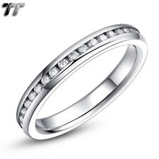 TT 2.5mm Slim Stainless Steel Band Ring Clear CZ Whole Row (R343S)