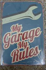 My Garage My Rules Metal Sign Painted Poster Book Wall Decor Pub Shop Art