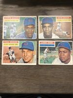 (4) 1956 Topps Ernie Banks & Chicago Cubs Lot Baker Minner Doby