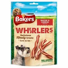6x Bakers Whirlers Dog Treat Bacon & Cheese 175g