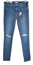 Womens Levis SHAPING SKINNY 311 Premium Blue Ripped Stretch Jeans 14 W32 L34