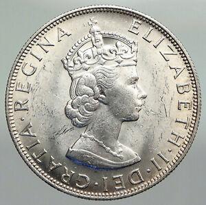 1964 BERMUDA British Colony LARGE Elizabeth II VINTAGE Silver Crown Coin i92259