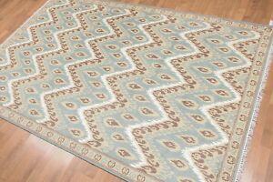 5' x 8' Hand Knotted IKAT Design Wool & Bamboo Silk Area rug AOR8568 Aqua 5x8