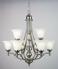 Empire Silver And Etched Alabaster Glass 9 Light Chandelier