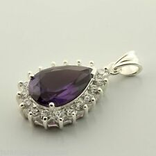 CLEARANCE Sterling Alexandrite Lab Sapphire 15x10mm Pear Accented Pendant