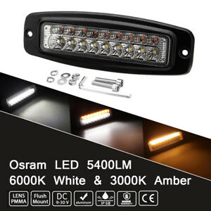 1PC Osram LED Work Driving Light Bar Offroad Boat Truck 54W 18LED Amber & White