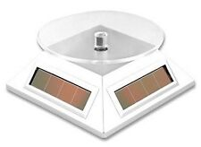 Solar Powered Rotating Display Stand Mini TurnTable w/ Extra Battery Compartment