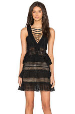 Self Portrait Dress Size 10 Women's Black Lace Up Tiered Mini Eyelet Party NEW