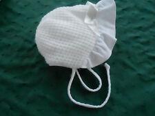 Charming White Baby Bonnet With A Corduroy Brim, Circa 1950