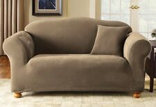 Sure Fit Stretch Pique Loveseat Slipcover in Taupe for a Box Style Cushion