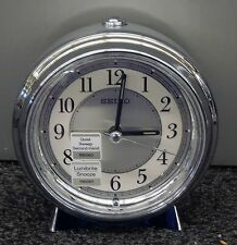 SEIKO - ALARM CLOCK SILVER TONE CASE WITH BEEP ALARM AND QUIET SWEEP QHE132SLH