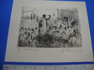 original signed etching of a snake charmer ,app 1900(?)unknown Artist,Orient