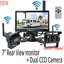 "Wireless 7"" Monitor 2X Backup Camera System For Trailer Truck Caravan Motorhome"