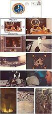 APOLLO 14 color PHOTO POSTCARD SET of 10 '71 vtg NASA postal cover envelope