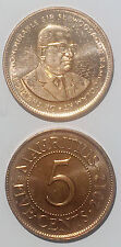 Mauritius 5 cents 1987-2012 18mm brass steel  coin km51