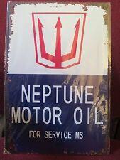 neptune  motor oil rustic look tin metal sign MAN CAVE