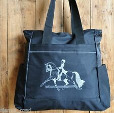 Horse Print Equestrian Dressage Tote Bag - Black with Silver Grey Horse & Rider