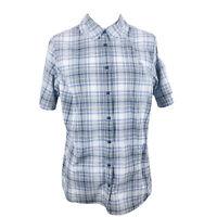 Duluth Trading Co Women's Button Front Shirt Short Sleeve Zippered Pocket Sz XL