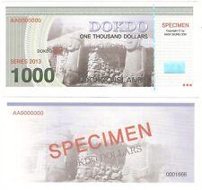 South Korea Dokdo 1000 Dollars 2013 UNC SPECIMEN Private Banknote
