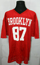 Vintage 1987 Wilson Brooklyn New York Red Mesh Football Jersey 2Xl