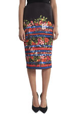 Joseph Ribkoff Black/Red/Blue Flower Print Pencil Skirt US 10 UK 12 NEW 182718