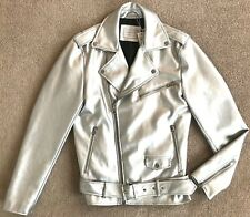 ZARA MAN SILVER FAUX LEATHER MOTO BIKER JACKET NWT! S
