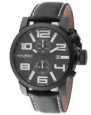 Haurex Italy Men's 3N506UWN TURBINA II Chronograph Black Leather Watch