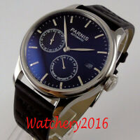 43mm PARNIS Black Dial Power Reserve Date ST Automatic Mechanical Men's Watch