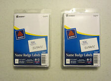 200 AVERY DENNISON WHITE NAME BADGES TAGS ID LABELS ADHESIVE PEEL LABEL STICKERS