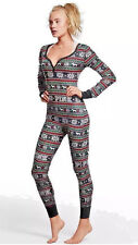 VICTORIA'S SECRET PINK Christmas Thermal Fair Isle Long Jane Jumper Pajama M NEW